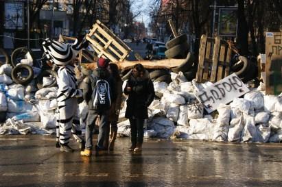 Zebra rozdająca ulotki na barykadzie na kijowskim Euromajdanie