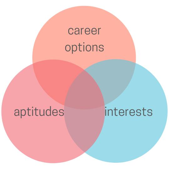 """Three overlapping circules in pink, peach and turquoise. The pink one says """"aptitudes,"""" the peach one says """"career options"""" and the turquoise one says """"interests."""" Where they all meet in the middle will help you choose a university program"""