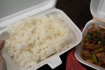 A whole lot of cheap Chinese food from Chinatown.
