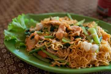 Noodles with chicken at Angkor Wat.