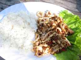 Seafood on the beach of Koh Rong, Cambodia. I'll consider this spicy squid to be Asian.