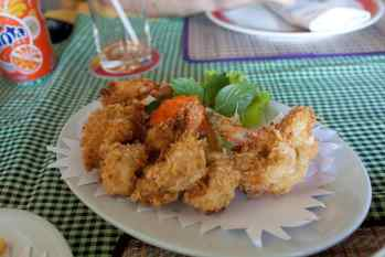 Fries, fried shrimp, and garlic bread. The fried shrimp were totally Asian. OK, I'm kidding no one.