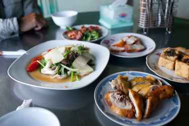 Lots of cheap food for lunch while on my motorbike tour in Dalat, Vietnam.