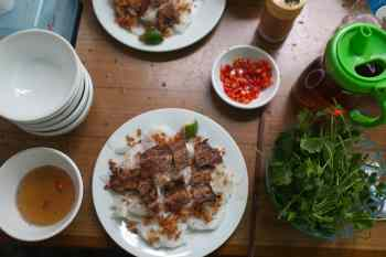 A street food meal in Hanoi.