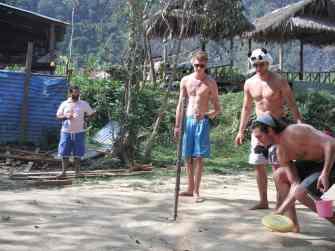 Playing Beerbee in Vang Vieng, Laos.