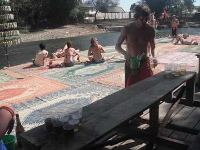 Playing beer pong in Vang Vieng, Laos.