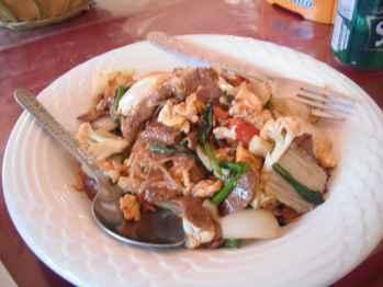 Beef noodles in Vang Vieng, Laos.