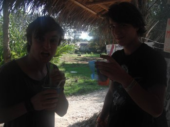 Partying by the river in Vang Vieng, Laos.