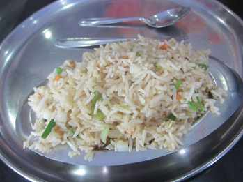 Fried rice at a train station in India.