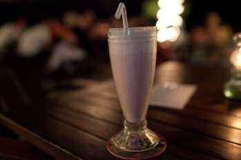 Strawberry milkshake in Lovina, Bali.