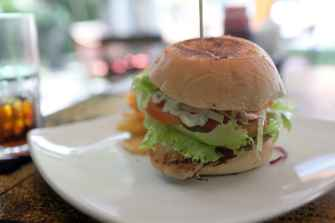 Fish burger in Sanur, Bali.