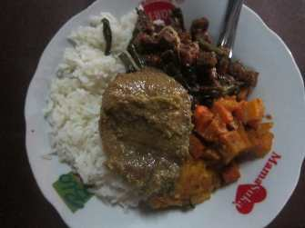 Indonesian food plate in Sanur, Bali