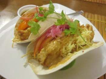 Fish tacos in Boracay, Philippines.