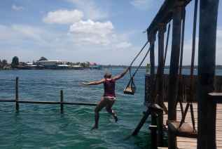 Water swing at Aqua Lounge in Bocas del Toro, Panama.