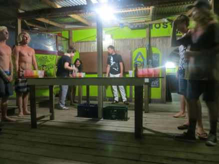 Beer pong at Aqua Lounge in Bocas del Toro, Panama.