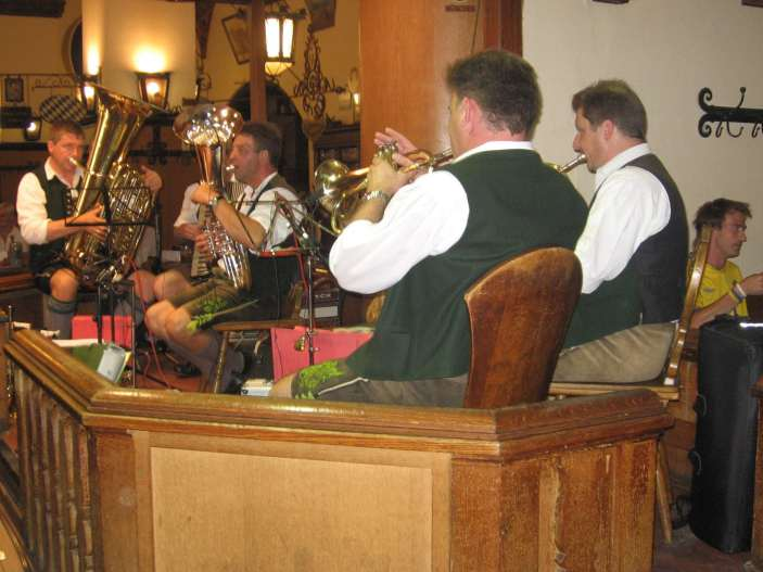 A band playing at Hofbrauhaus in Munich, Germany