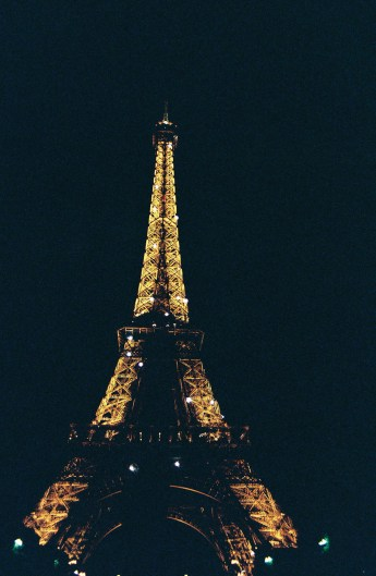 The Eiffel Tower at Night in Paris, France