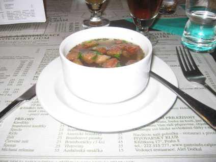Garlic Soup in Prague, Czech Republic