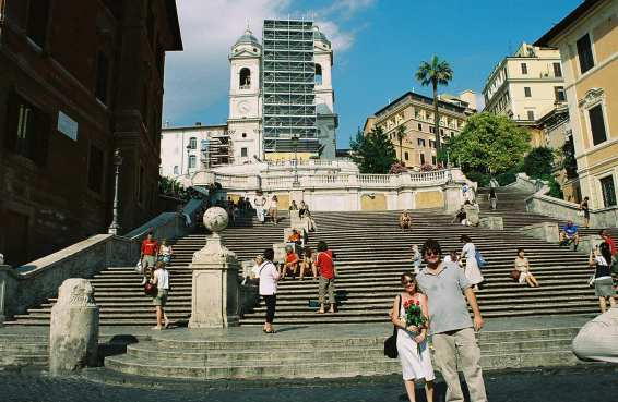 Scott and Isla on the Spanish Steps in Rome, Italy