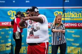 "Eric ""Badlands: Booker performs an eating contest rap at the Nathan's Famous July 4 Hot Dog Eating Contest 2015"