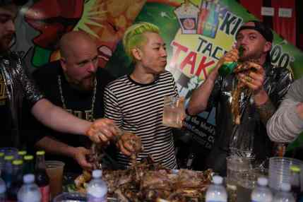 Takeru Kobayashi eats a 40-pound goat to beat the Chicago Cubs billy goat curse.