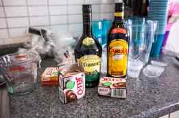 Ingredients for mudslide pudding shots.