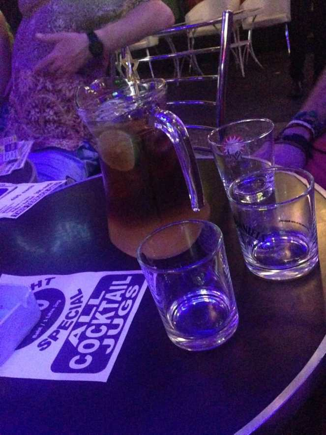 Pitchers of drinks. Of course.