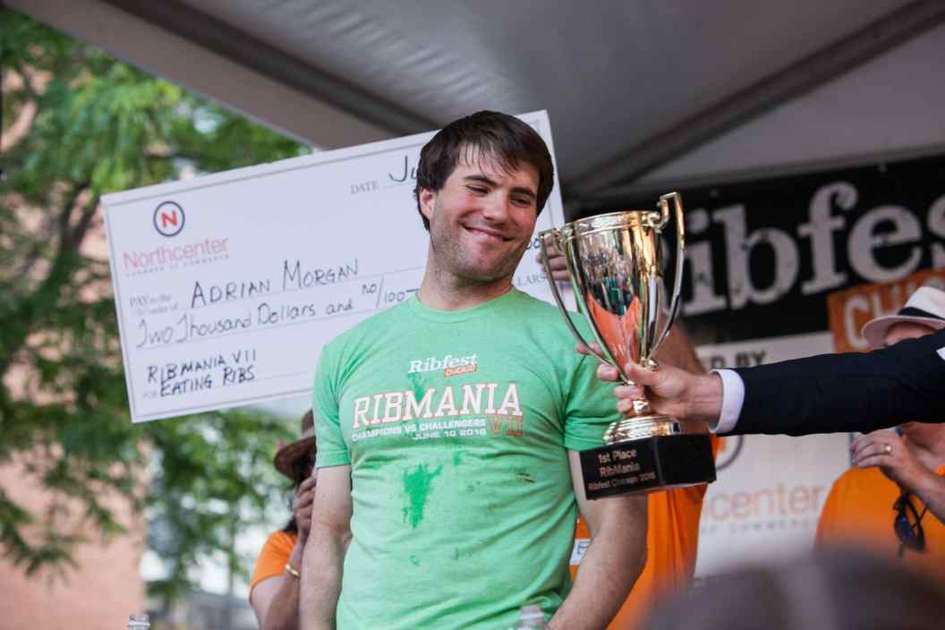 Adrian Morgan wins Ribmania Ribs Eating Contest at Ribfest Chicago