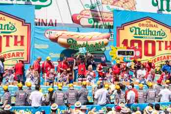 The women's contest at the Nathan's Famous July Fourth hot dog eating contest.