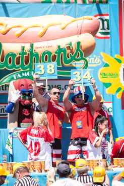 Miki Sudo and Sonya Thomas compete at the 2016 Nathan's Famous hot dog eating contest at Coney Island.