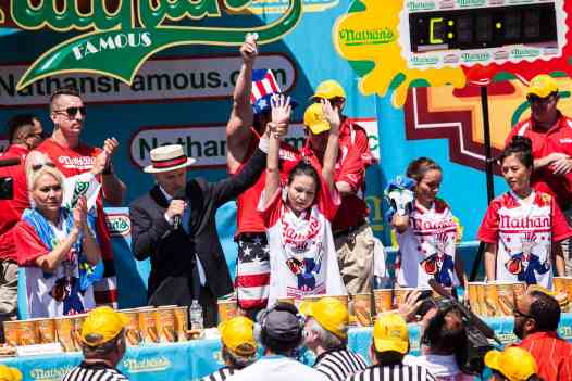 Sonya Thomas comes in second at the 2016 Nathan's Famous hot dog eating contest at Coney Island.