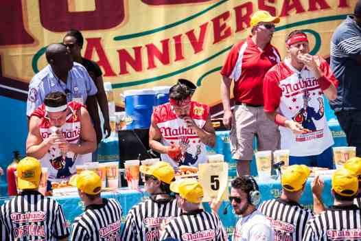 Juan 'More Bite' Rodriguez eats at the 2016 Nathan's Famous hot dog eating contest at Coney Island.