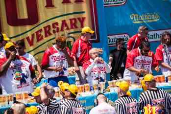 Rich LeFevre eats at the 2016 Nathan's Famous hot dog eating contest at Coney Island.