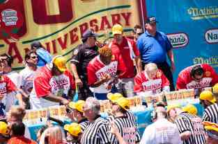 Gideon Oji at the 2016 Nathan's Famous hot dog eating contest at Coney Island.