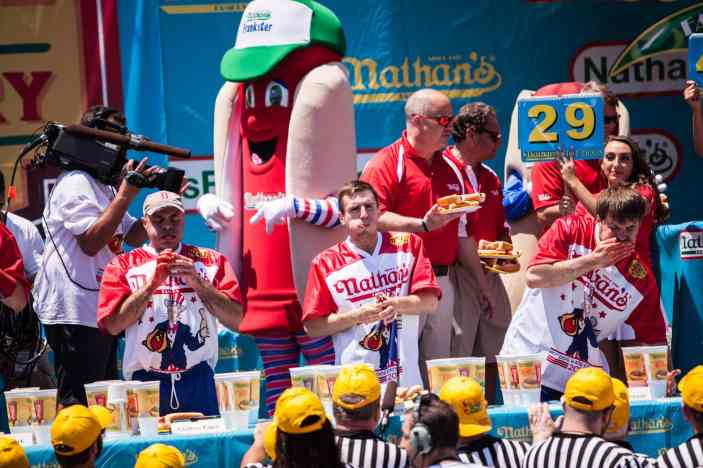 Carmen Cincotti eats at the 2016 Nathan's Famous hot dog eating contest at Coney Island.