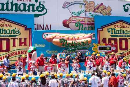 The 2016 Nathan's Famous hot dog eating contest at Coney Island.
