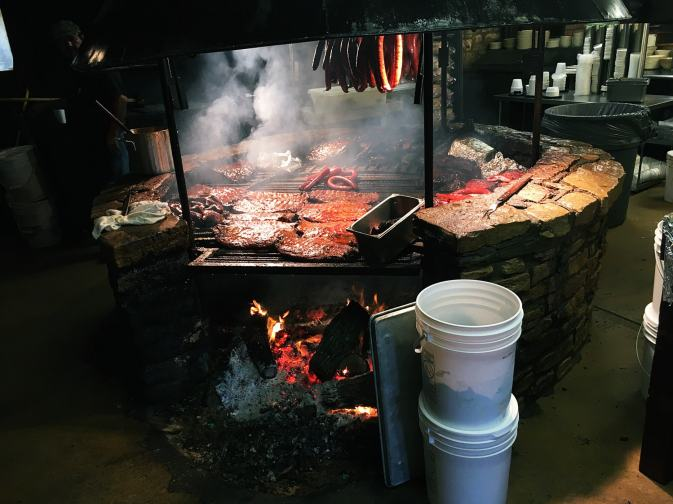All the meats meating at Salt Lick BBQ in Austin, Texas.