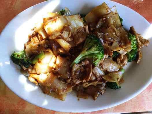 Pork phad see iew at Tup Tim Thai in Seattle, Washington.