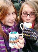 Drinking Glühwein at Christkindlmarket in Chicago.