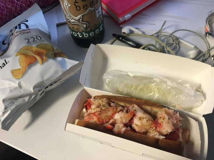 Lobster roll from Luke's Lobster. Because if you're going to eat lunch at your desk on your birthday, you should eat lobster.