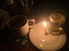 Birthday candle and cider shot The Northman in Chicago.