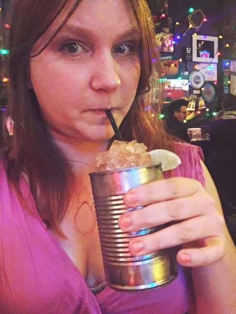 Drinking my Moscow mule in a tin can at Best Intentions bar in Chicago