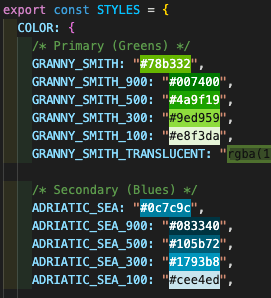 Portion of enum file laying out brand colors