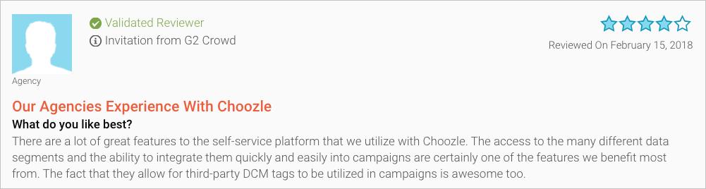 Choozle vs. Brightroll G2 Crowd Testimonial Targeting Capabilities