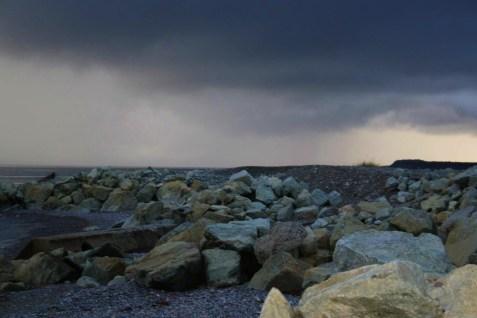 the rocky beach at Port Harmon