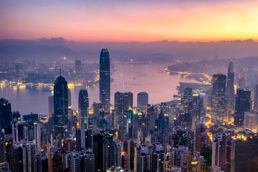 Sunrise over Hong Kong Victoria Harbour