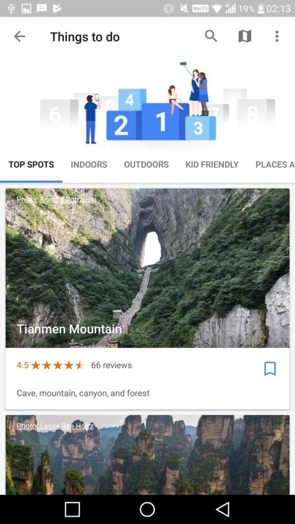 Google Trips top spots