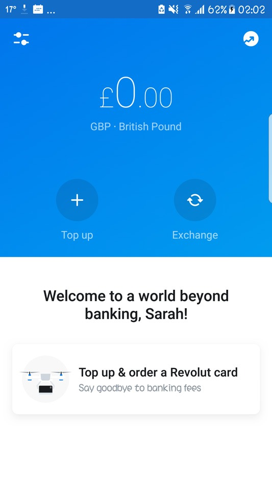 Revolut welcome screen