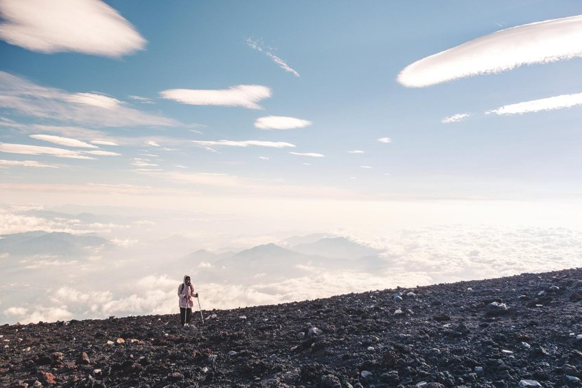 Girl at the top of Mt Fuji