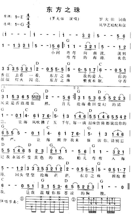 東方之珠 - 羅大佑 - 吉他譜 - Chord4